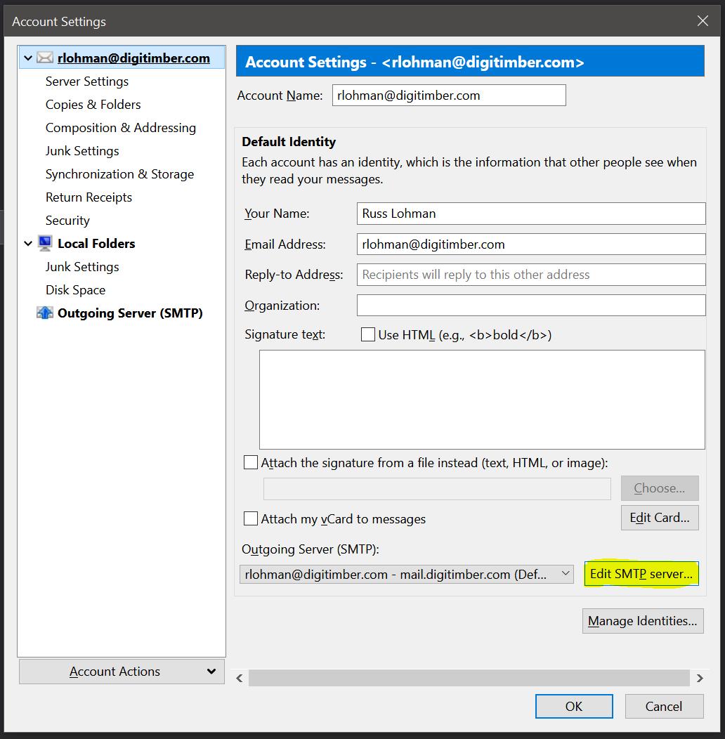 Edit SMTP Settings